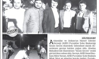 Pursaklarda Sinsin Gecesi – Anadolu Gazetesi – 10 Temmuz 2017