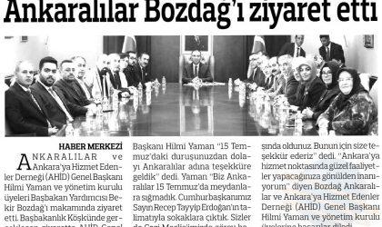 Ankaralılar Bozdağ'ı Ziyaret Etti – Anadolu Gazetesi – 16 Ekim 2017