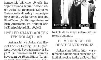 AHİD Beypazarı'na Kültür Çıkarması Yaptı – Anadolu Gazetesi – 20 Eylül 2017