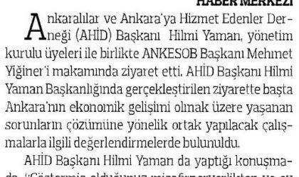 Ankaralılardan ANKESOB Başkanı Yiğiner'e Ziyaret – Anadolu Gazetesi – 26 Temmuz 2017
