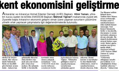 """""""Başkent ekonomisini geliştirmeliyiz""""- Ankara Bölge Gazetesi – 27 Temmuz 2017"""