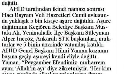 Ankara'da 5 Bin Kişiye Aşure Dağıtıldı – Ankara Güçlü Anadolu Gazetesi – 9 Ekim 2017