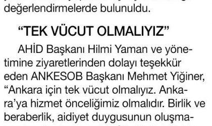 """ANKESOB'a """"Birlik"""" Ziyareti – Habertürk Gazetesi – 26 Temmuz 2017"""