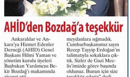 AHİD'den Bozdağ'a Teşekkür – Milliyet Gazetesi – 15 Ekim 2017