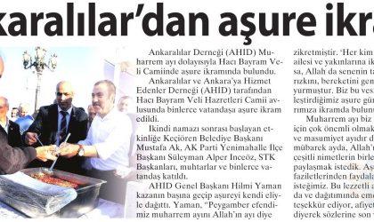 Ankaralılardan Aşure İkramı – Milliyet Gazetesi – 9 Ekim 2017