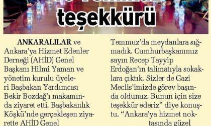 15 Temmuz Teşekkürü – Sabah Gazetesi – 15 Ekim 2017