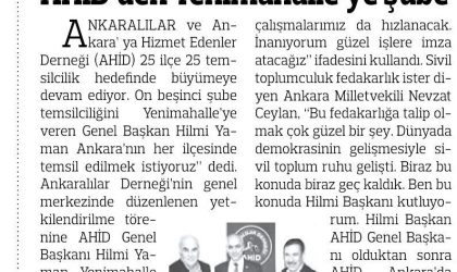 AHİD'den Yenimahalle'ye Şube – Anadolu – 08 Aralık 2017