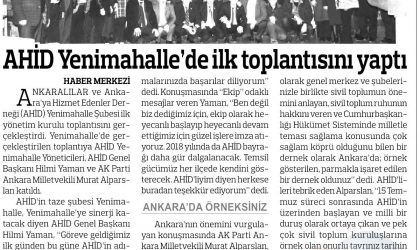 AHİD Yenimahalle'de İlk Toplantısını Yaptı – Anadolu – 06 Şubat 2018