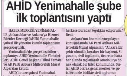 AHİD Yenimahalle Şube İlk Toplantısını Yaptı – Ankara Sonsöz – 07 Şubat 2018