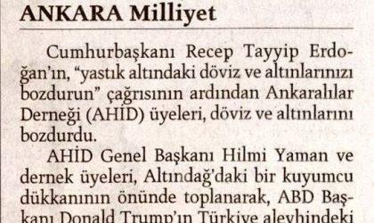 Ankaralılar Döviz Bozdurdu – Milliyet – 12 Ağustos 2018