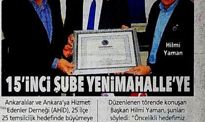 15'inci Şube Yenimahalle'ye – Posta Ankara – 09 Aralık 2017