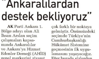 Ankaralılardan Destek Bekliyoruz – Sabah Ankara – 30 Mayıs 2018