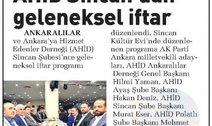 AHİD Sincan'dan Geleneksel İftar – Sabah Ankara – 04 Haziran 2018