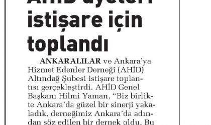 AHİD Üyeleri İstişare İçin Toplandı – Sabah Ankara – 01 Nisan 2018