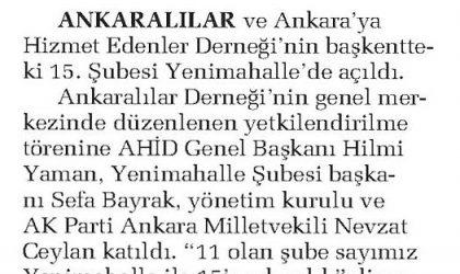 AHİD, 15'nci Şube ile Büyüdü – Sabah Ankara – 08 Aralık 2017