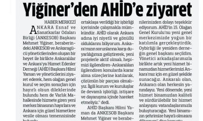 Yiğiner'den AHİD'e Ziyaret – Anadolu – 9 Temmuz 2019