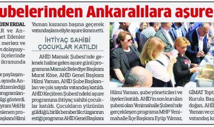 AHİD Şubelerinden Ankaralılar'a Aşure İkramı – Anadolu – 1 Ekim 2019