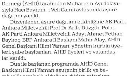 Ankaralılar 5 Bin Kişilik Aşure Dağıttı – Ankara Sonsöz Gazetesi – 24 Eylül 2018