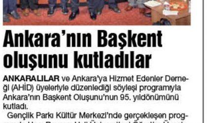 Ankara'nın Başkent Oluşunu Kutladılar – Ekonomik Gündem – 17 Ekim 2018