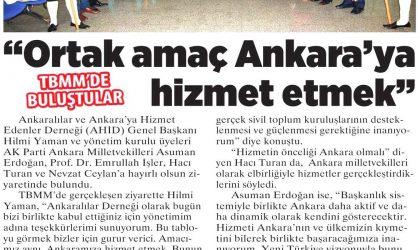 """Ortak amaç Ankara'ya hizmet etmek"" – Milliyet Ankara – 21 Ekim 2018"