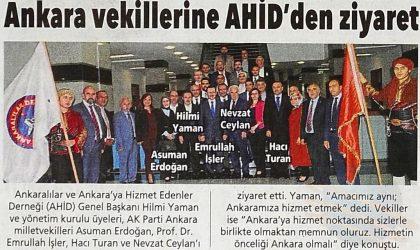 Ankara Vekillerine AHİD'den Ziyaret – Posta Ankara – 20 Ekim 2018