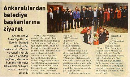 Ankaralılardan Belediye Başkanlarına Ziyaret – Sabah Ankara – 27 Nisan 2019