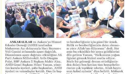 5 Bin Kişiye Aşure Dağıtıldı – Sabah Ankara – 23 Eylül 2018