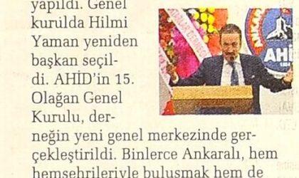 Hilmi Yaman Yeniden AHİD Başkanı Seçildi – Sabah Ankara – 24 Haziran 2019