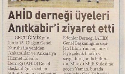 AHİD Derneği Üyeleri Anıtkabir'i Ziyaret Etti – Sabah Ankara – 20 Temmuz 2019
