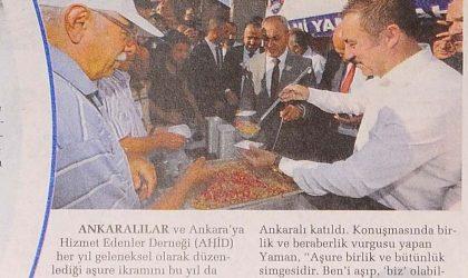 AHİD'den Geleneksel Aşure İkramı – Sabah Ankara – 18 Eylül 2019