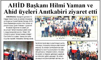 AHİD Başkanı Hilmi Yaman ve AHİD Üyeleri Anıtkabir'i Ziyaret Etti – Zafer – 20 Temmuz 2019