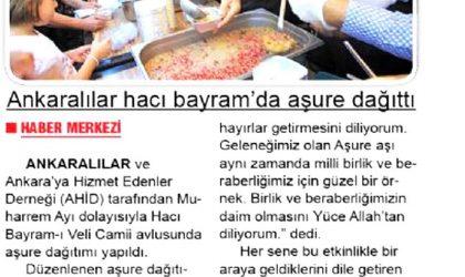 Ankaralılar 5 Bin Kişilik Aşure Dağıttı – Zafer Gazetesi – 24 Eylül 2018